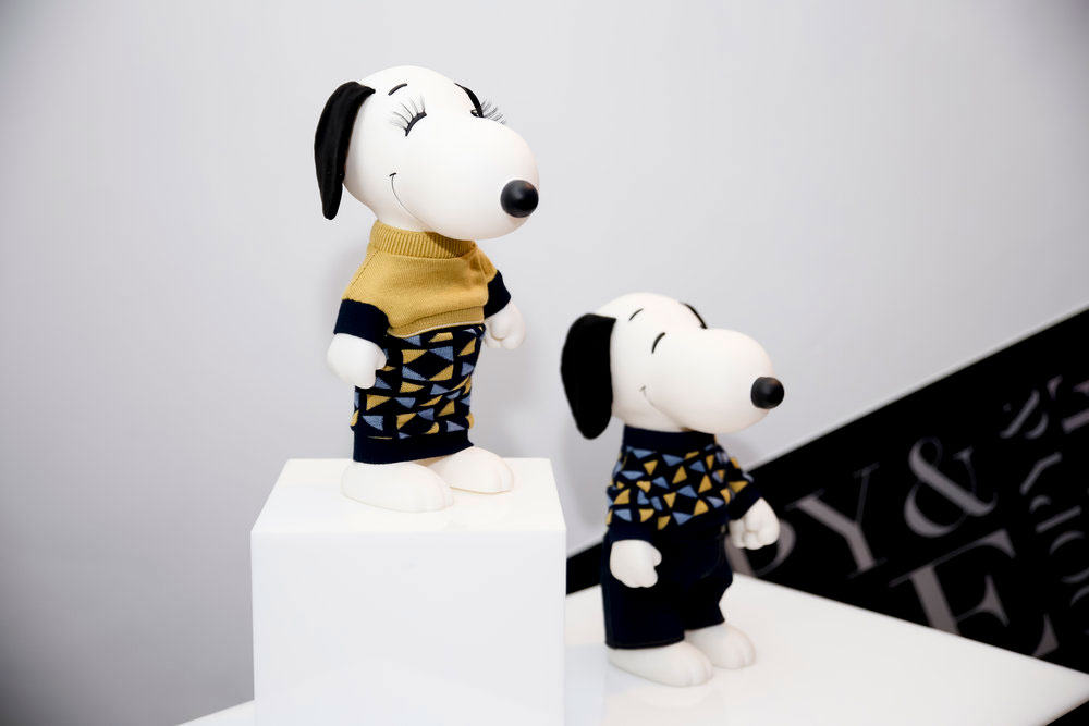 A display of two black and white dogs standing on white boxes wearing black, brown and blue outfits.