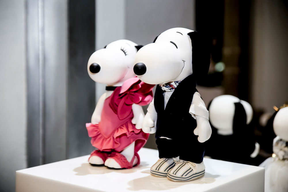 A close up of two black and white dogs inside a glass display.
